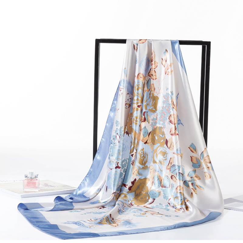 Women Luxury Brand Flower Print Square Silk Scarfs Head   Wraps   Ladies Hijab   Scarves   Headkerchief 90*90cm