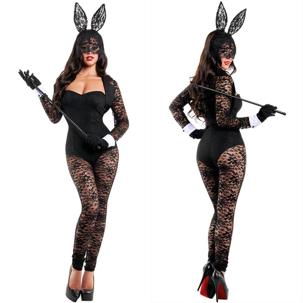 Sexy Black Lace Erotic underwear Mysterious Veil Bunny Girl Uniform Halloween Party Rabbit Costume Cosplay