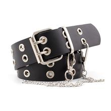 Double Row Hole Belt for Men and Women Fashion Punk Style with Eyelet Chain Decorative Belt for Jeans Pants Trousers