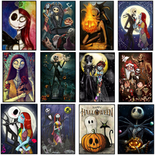 Fezrgea DIY 5d Diamond Painting Nightmare Before Christmas Full Round Drill Crystal Mosaic Picture Halloween Embroidery