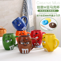 Genuine M Bean Cup Lovers Originality Ceramics Cup Expression Cartoon Coffee mug Large Capacity Drink mugs