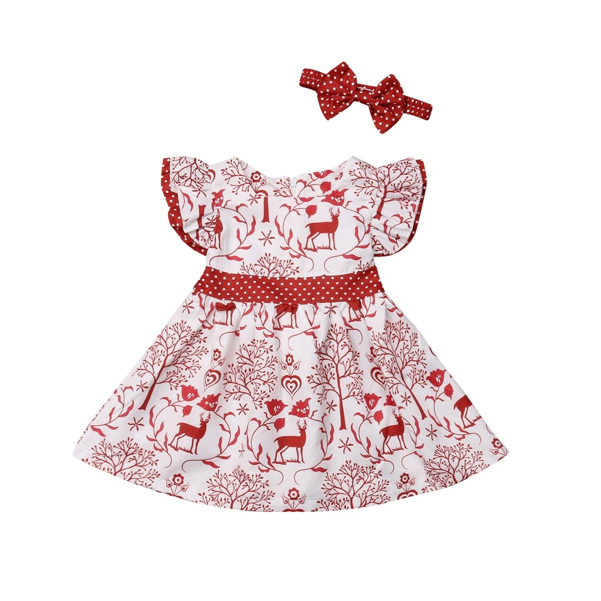 Robe de noël pour filles | Tenue Tutu mignonne pour filles, avec imprimé cerf et nœud papillon, robes de fête + bandeau