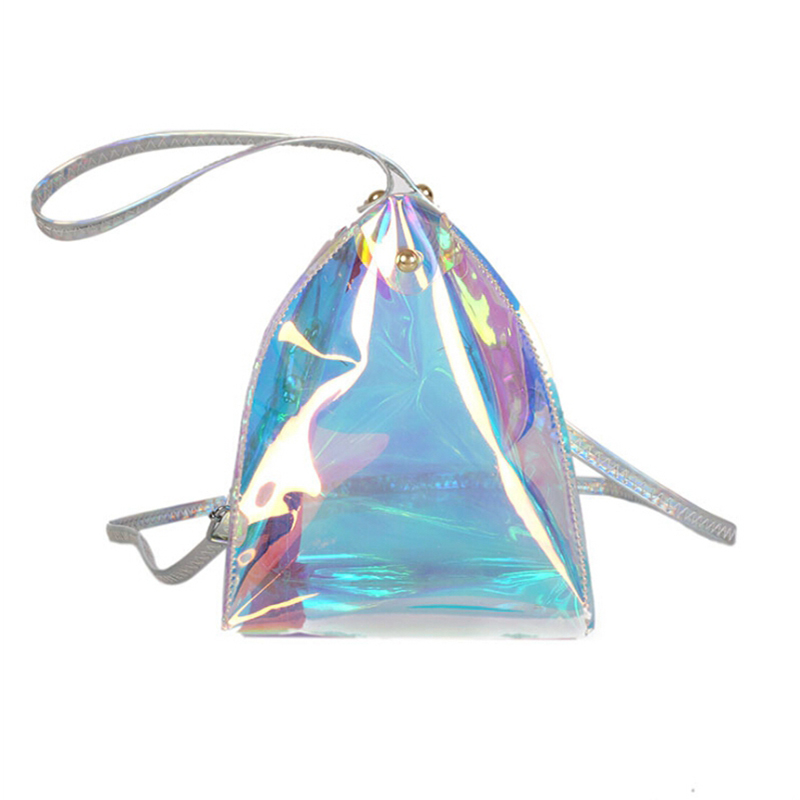 Fashion Femmes  Women's PVC Clear Transparent Shoulder Bag Tote Jelly Candy Triangle Handbag Waist Packs