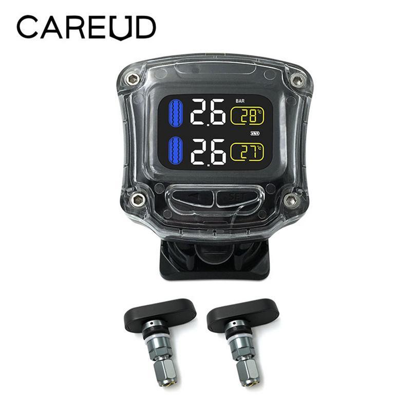 Wireless Motorcycle TPMS Tire Pressure Monitoring System Waterproof Sunscreen 2 External Sensors Moto Tire Pressure Monitor