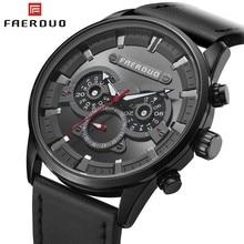 FAERDUO 2019 Black Watch Men Brand Luxury Leather Waterproof Quartz Military Watches Man Clock Relogio Masculino