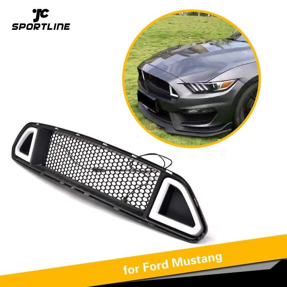 Doeltreffend Voor Ford Mustang 2015-2017 Voorbumper Mesh Grille Matte Black Abs Grille Met Lamp 3 Kleur Licht Voor Kiezen Wit Groen Rood