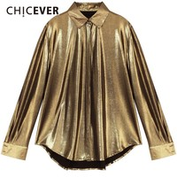 CHICEVER Spring Autumn Women Tops And Blouse Lapel Long Sleeve Loose Gold Blouses Women's Shirts Fashion Vintage Clothes Tide