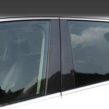 Moldura Exterior de fibra de carbono para ventana de coche, embellecedor para Mercedes Benz Clase E 2017 2018, 6 uds.