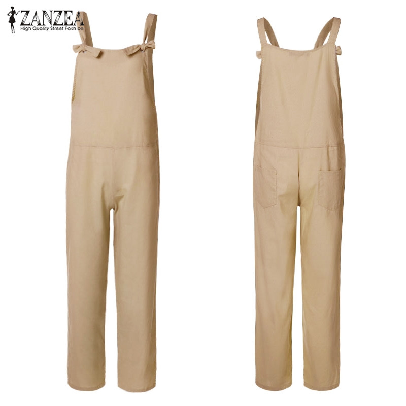 H.Wang Womens Sleeveless Overall Plus Size Jumpsuit Baggy Romper Bib Loose Trousers