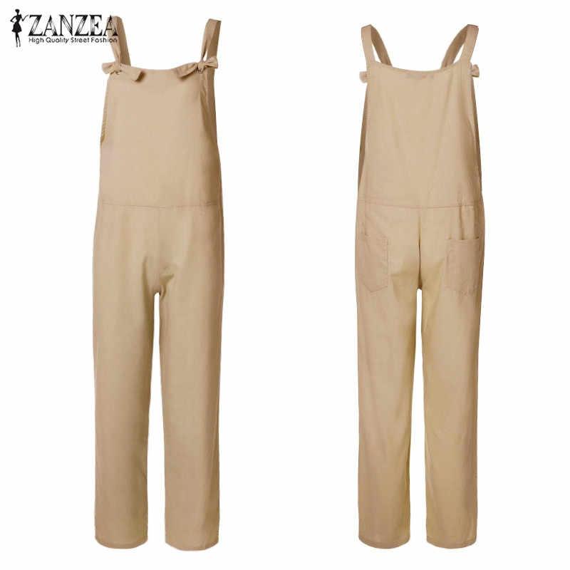 786dc0efb164 ... Plus Size Linen Bib Overalls Women Casual Jumpsuits 2019 ZANZEA  Backless Rompers Playsuit Female Harem Pants