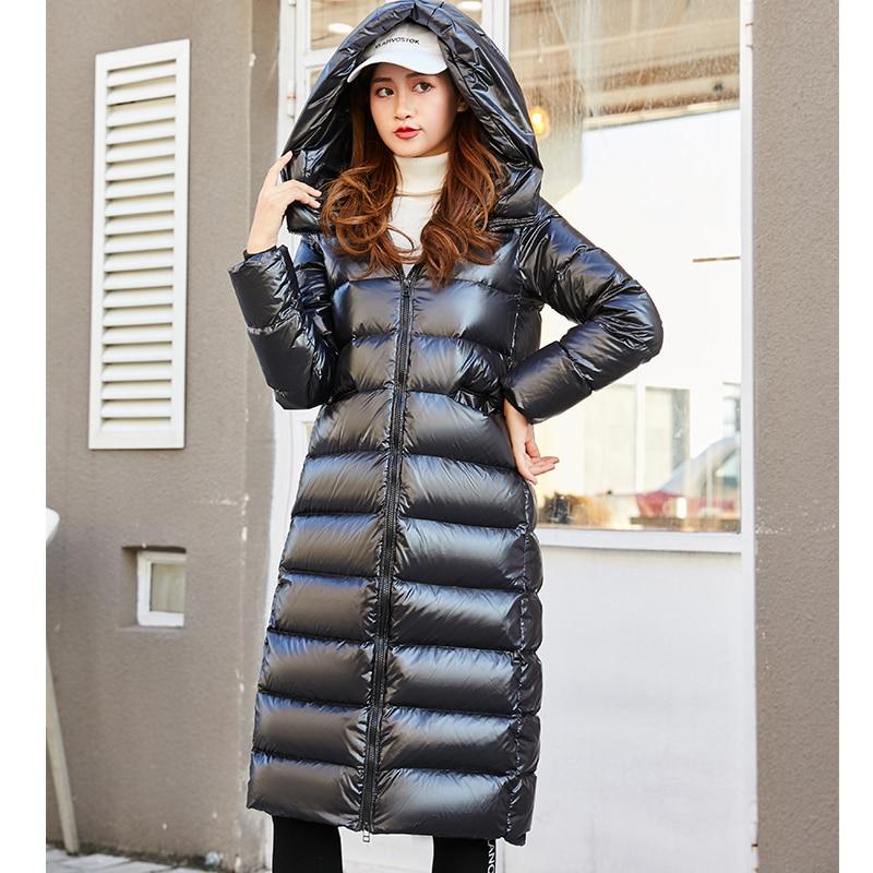 2020 90% gęsie pióro płaszcz długi czarne błyszczące grube ciepłe luźny, puchowy kurtka biała kaczka kurtka pikowana odzież wierzchnia plus size
