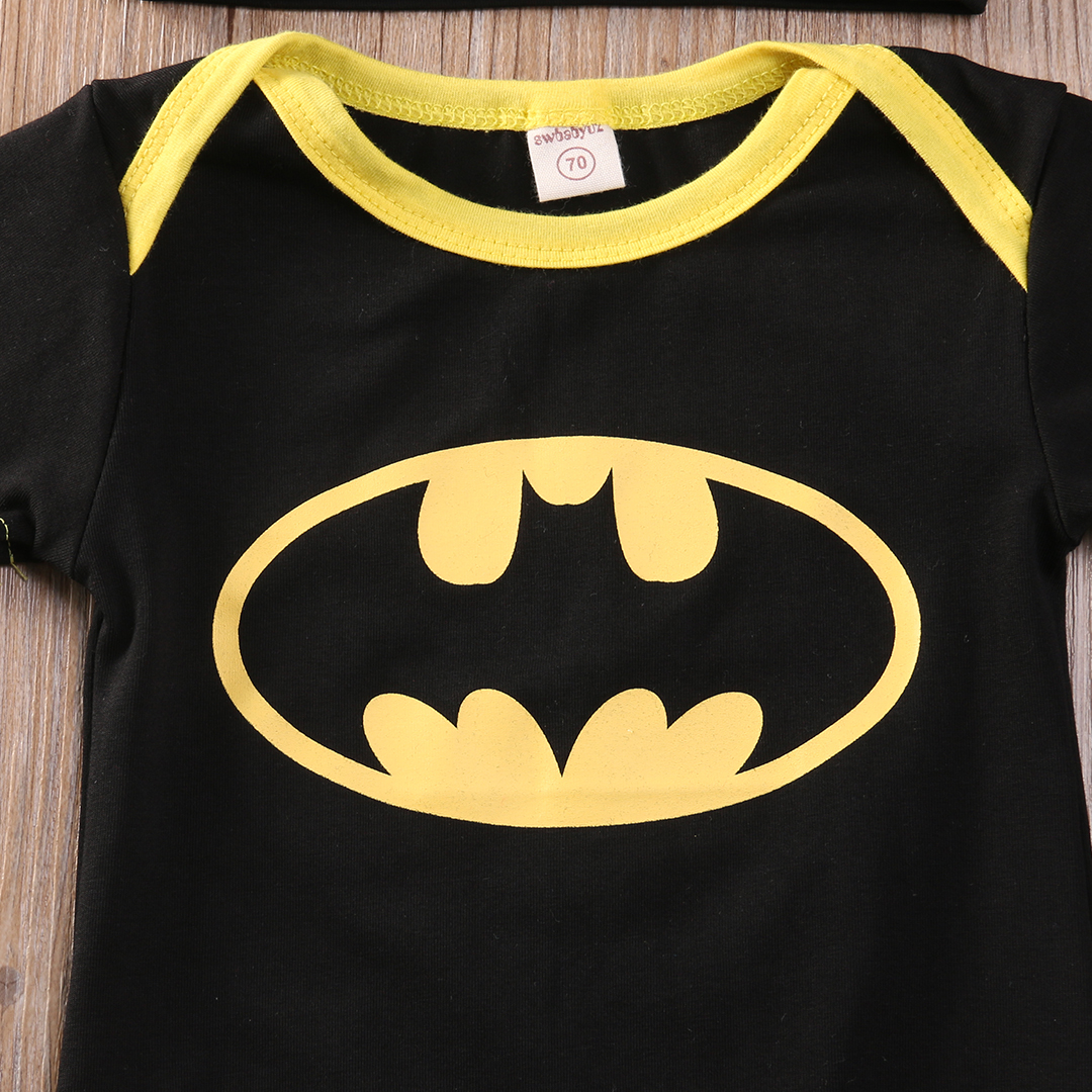 Newborn Baby Girls Boys Batman 3Pcs Outfits Set Romper Shoes Hat Infant Clothes