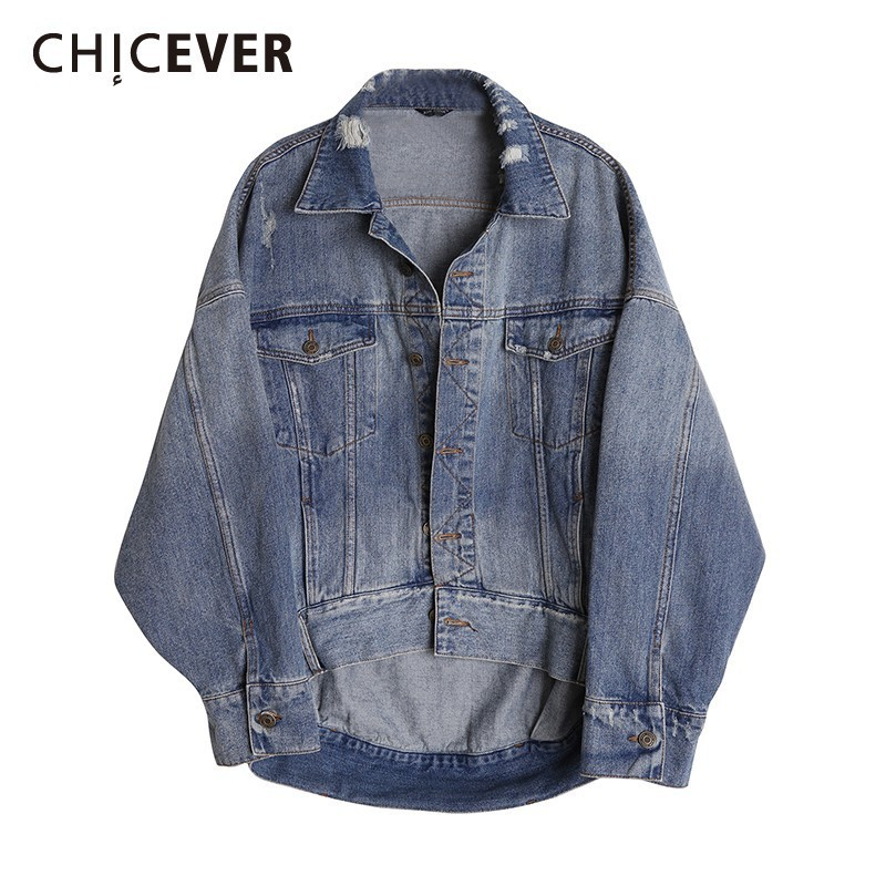 CHICEVER Spring New Loose Vintage Women Denim Coat Casual Lapel Batwing Sleeve Button Pockets Female Top