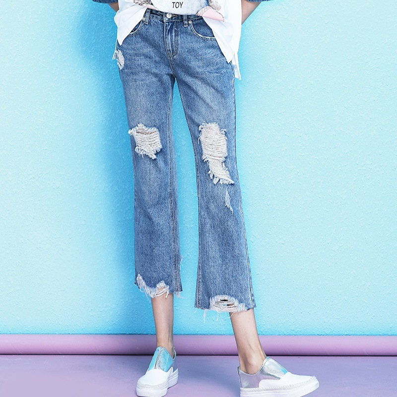 Personality retro holes burr jeans female 2019 summer new arrival high waist stovepipe calf length jeans women NW19B6143 in Jeans from Women 39 s Clothing