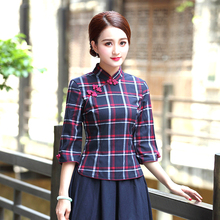 Traditional Chinese Blouse Qipao The Republic Of China Style Cheongsam Tops National Wind Maam Shanghai Handmade Buckle Blusas