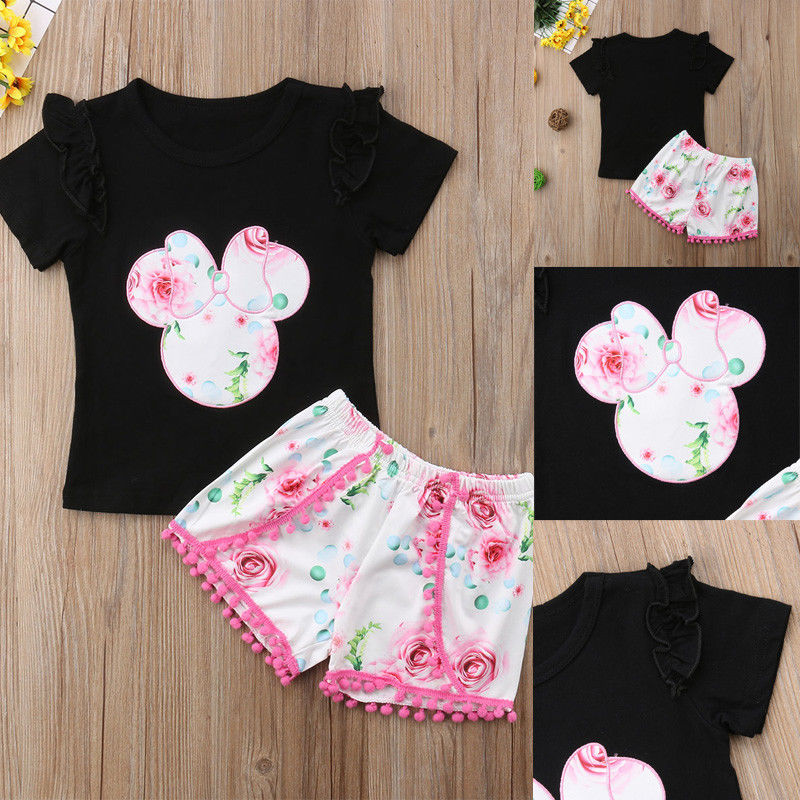Pudcoco Girl Set 1Y-6Y Kid Baby Girl Minnie Mouse Clothes T-shirt Tops +Pants Shorts Sunsuit Outfit Set