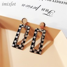 hot deal buy polka dot dot acrylic earrings pendant diy homemade black and white geometric spot ear jewelry accessories