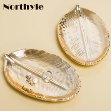 Nordic ceramic gold tray leaf storage for DIY home decoration porcelain golden plate wedding jewelry