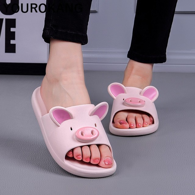 Summer Couple Shoes Home Slippers Cute Indoor Non-slip Bathroom Slippers For Lovers Pig Cartoon Women Slippers Lovely Household 2