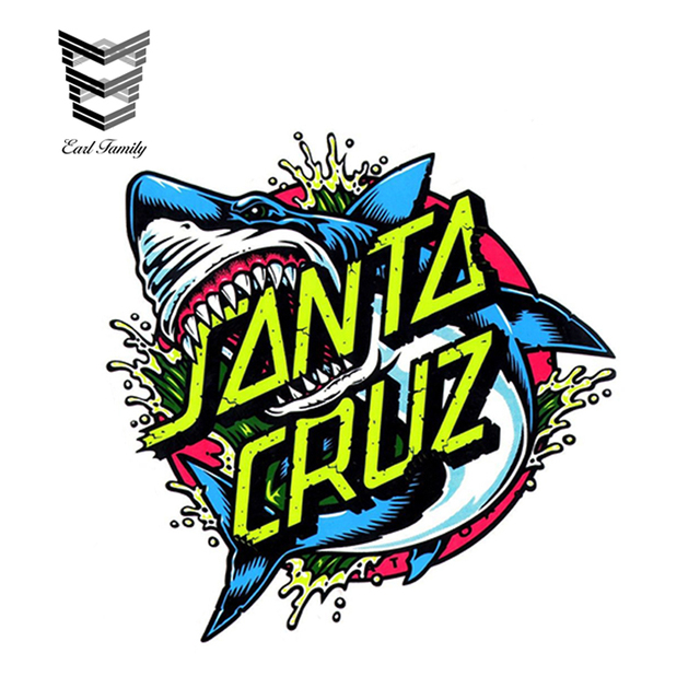 3bfbc608f7fd US $1.55 22% OFF EARLFAMILY 11cm x 10cm Santa Cruz Skateboard/Surf Sticker  Shark Dot surfing skating board large Car Side Stickers Funny Decal-in Car  ...