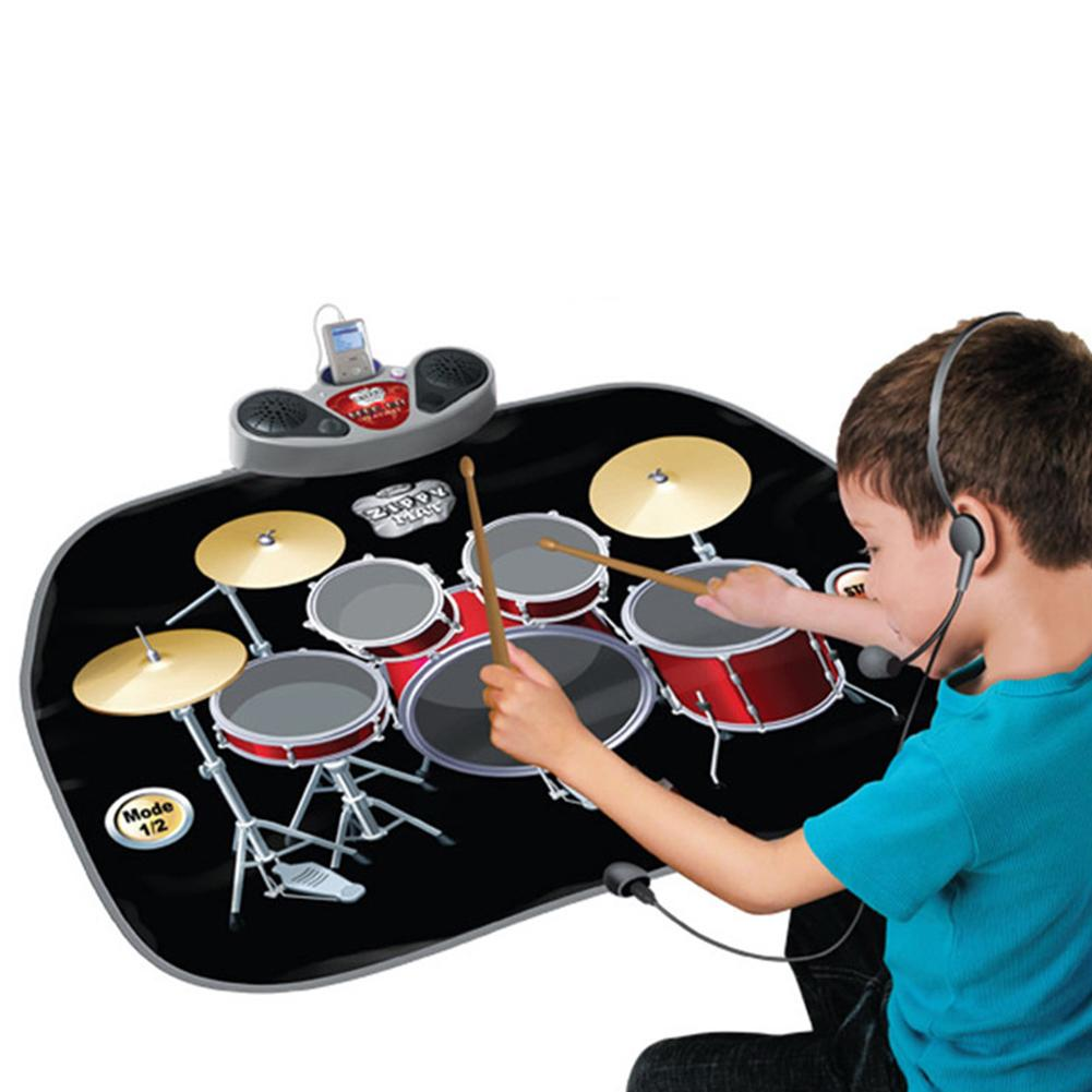 Drum Set Music Dance Carpet Game Machine Early Educational Toys For Boys Children Drum Music Dance Game Blanket Fun Cute Baby   - title=
