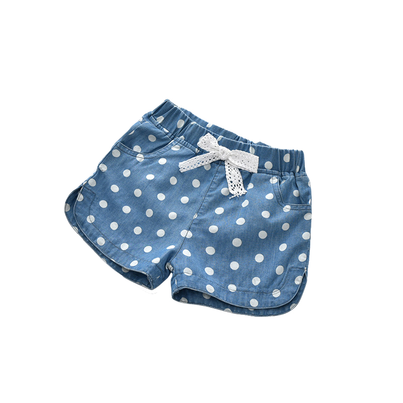 cute blue polka dot cotton   shorts   age for 2 - 8 yrs baby girls summer beach clothes 2019 new spring lace bow loose   short   pants