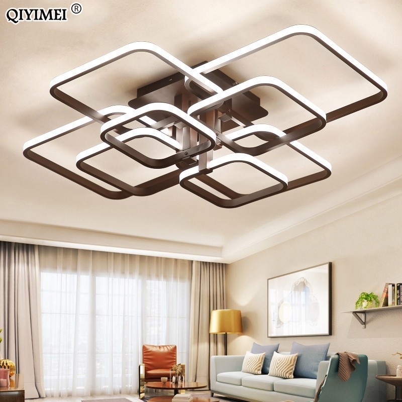 Square Circel Rings Ceiling Lights For Living Room Bedroom Home AC85-265V Modern Led Ceiling Lamp Fixtures lustre plafonnierSquare Circel Rings Ceiling Lights For Living Room Bedroom Home AC85-265V Modern Led Ceiling Lamp Fixtures lustre plafonnier