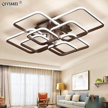 Square Circel Rings Ceiling Lights For Living Room Bedroom Home AC85-265V Modern Led Ceiling Lamp Fixtures lustre plafonnier(China)