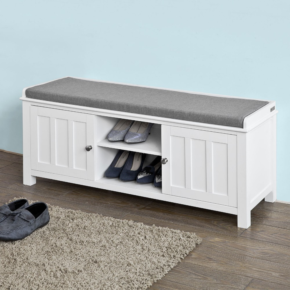 SoBuy FSR35-W, White Storage Bench with 2 Doors Removable Seat Cushion, Shoe Cabinet Shoe bench