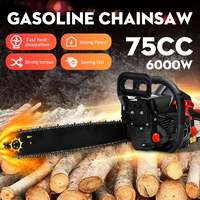 6KW Gas Gasoline Powered Chainsaw 6000W 75cc 2 stroke Gasoline Chain Saw Wood Pruning Cutting power tools
