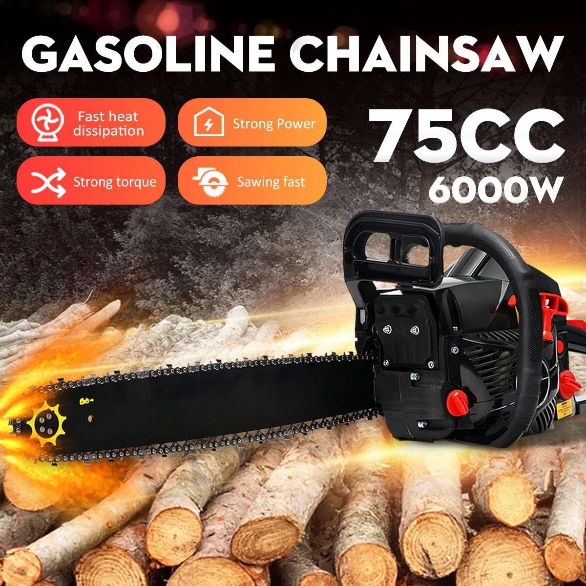 6KW essence essence scie à chaîne 6000 W 75cc 2 temps essence scie à chaîne bois élagage coupe outils électriques