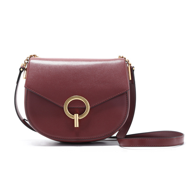 6914b0309be3 Brand Cow Leather Shoulder Bags Women 2018 New Circle Saddle Bag Retro  Style Keychain Small Package Shoulder Slung Saddle Bag