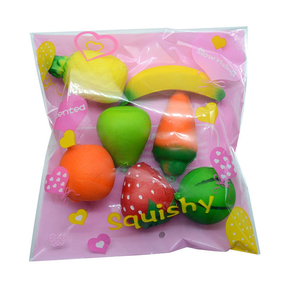 7pcs/Set Mini Cartoon Fruits Squishy Keychain PU Rising Toy Vent Soft Squeeze Decoration Random Style Not Repeated