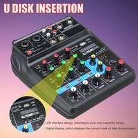 Портативный аудио микшер A4 звук микшерный пульт bluetooth записи 48 V Phantom Пау эффекты 4 Каналы аудио микшер с USB