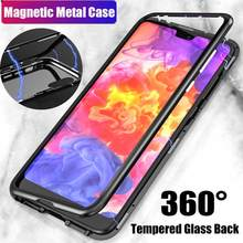 Adsorption Metal Case for Huawei P20 Pro Luxury Tempered Glass Cover(China)