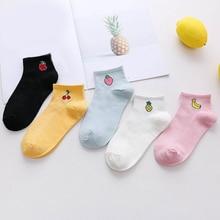 лучшая цена Fresh fruit socks spring autumn art boat socks short comfortable cotton socks watermelon banana cute girls clothing accessories