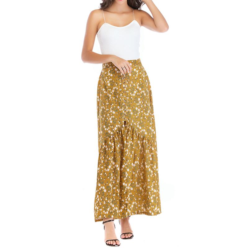 2019 Summer Floral Print Stitching Before Opening Crepe Skirt Fashion High Waist Bohemia Style And Naked Skirt