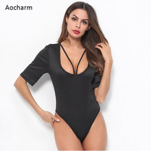 Aocharm Black Solid Form Fitting Bodysuit Casual Deep V-Neck Short Sleeve Skinny Bodysuit Women Summer Tshirt Bodysuits crisscross v neck form fitting dress