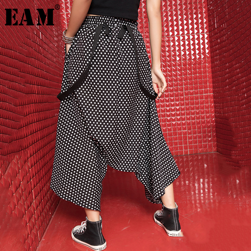 [EAM] 2019 New Spring Summer High Elastic Waist Loose Black Dot Printed Ribbon   Wide     Leg     Pants   Women Trousers Fashion Tide JR860