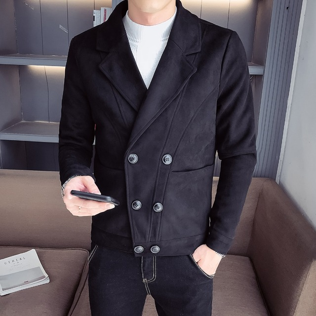2018 autumn new suede short paragraph simple double-breasted Slim British men's jacket solid color shirt trend
