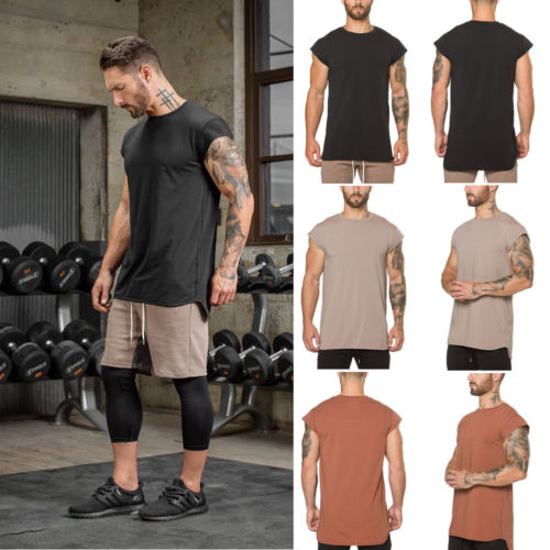 Men Tank Tops O-Neck Gym Muscle Casual Solid Bodybuilding Sleeveless Shirt Tank Top Singlet Fitness Sport Vest
