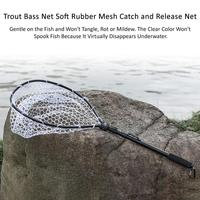 Europe Aluminum Alloy Hand Net Fast Folding Fly Fishing Net Fish Landing Net Trout Soft Rubber Mesh Fish Catcher Catch Fish Tool