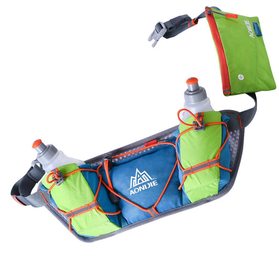 AONIJIE  Hydration Belts Bottle Holder With 2 Pcs 250ml Water Bottles Marathon Outdoor Waist Packs Running Water Belt Pack