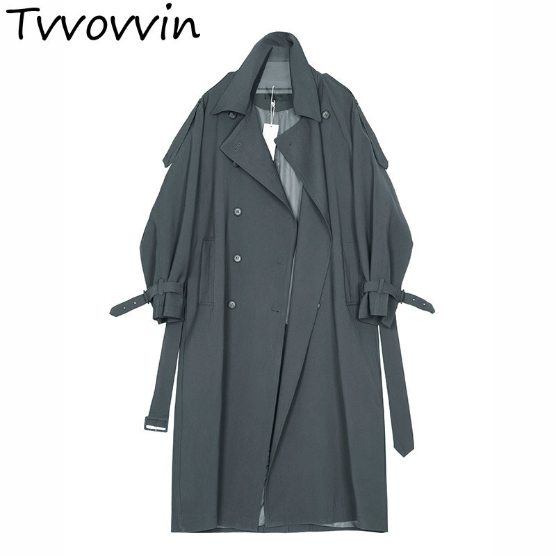 TVVOVVIN 2019 Spring Winter Woman Solid Color Sleeve Turn-down Collar Double Breasted Long Loose   Trench   Coat All Match L085