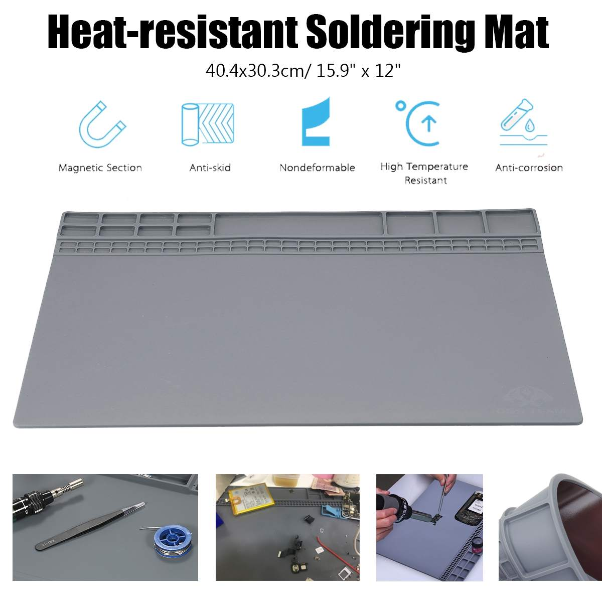 Insulation Pad Heat Resistant Soldering Station Silicon Soldering Mat Work Pad Desk Platform Soldering Repair Station(China)