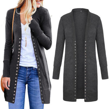 Women Autumn Slim Long Sleeve Knitted Cardigan Outwear Ladies Casual Solid Long Jacket Sweater Coat