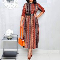 Women Elegant Office Dress for Ladies 2019 Plus Size Summer Casual Stripe Print A Line Vintage African Fashion Long Dress Maxi