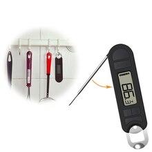 Складной цифровой термометр для еды мгновенное считывание водонепроницаемой кухни приготовления пищи с зондом для молока барбекю, мясо bbq(черный