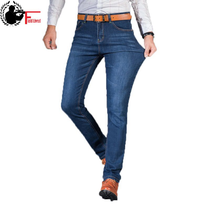 2019 Mens Jeans New Fashion Men Casual Jean Slim Straight High Elasticity Feet Jeans Loose Stretch Long Trouser Male Denim Pants