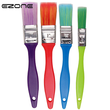 EZONE Candy Color Painting Brush Plastic Penholder Flat Peak Brushes Kids Oil Watercolor Art Tools Drawing Supply